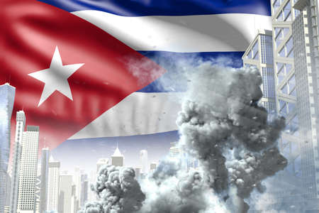 big smoke pillar in the modern city - concept of industrial disaster or terroristic act on Cuba flag background, industrial 3D illustration Stock fotó