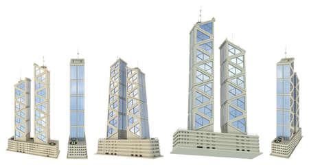 5 various angles views renders of fictional design financial buildings with two towers with sky reflections - isolated on white, 3d illustration of architecture