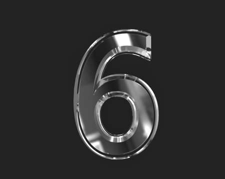 White shiny glassy clear font - number 6 isolated on dark, 3D illustration of symbols Stock fotó