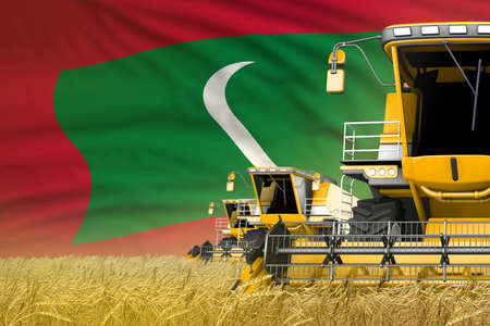 3 yellow modern combine harvesters with Maldives flag on grain field - close view, farming concept - industrial 3D illustration Stock fotó