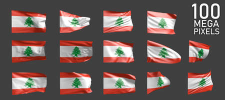 Lebanon flag isolated - different images of the waving flag on gray background - object 3D illustration