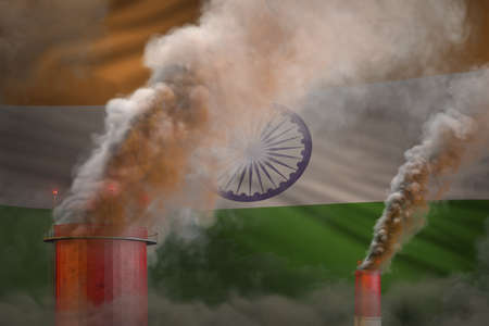 Global warming concept - dense smoke from industrial chimneys on India flag background with space for your logo - industrial 3D illustration 写真素材