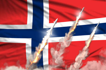 Norway ballistic missile launch - modern strategic nuclear rocket weapons concept on flag fabric background, military industrial 3D illustration with flag