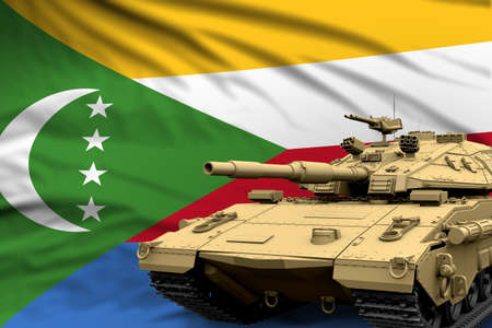 Heavy tank with fictional design on Comoros flag background - modern tank army forces concept, military 3D Illustration Zdjęcie Seryjne
