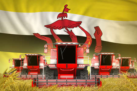 industrial 3D illustration of a lot of red farming combine harvesters on wheat field with Brunei Darussalam flag background - front view, stop starving concept