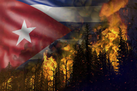 Forest fire fight concept, natural disaster - heavy fire in the woods on Cuba flag background - 3D illustration of nature 写真素材