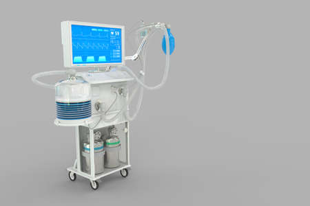 Medical 3D illustration, ICU artificial lung ventilator with fictive design isolated on gray background - heal corona virus concept 写真素材