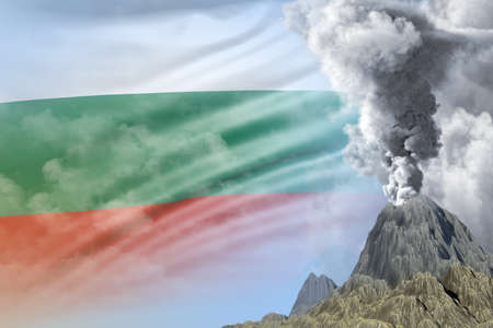 stratovolcano blast eruption at day time with white smoke on Bulgaria flag background, problems of disaster and volcanic ash conceptual 3D illustration of nature