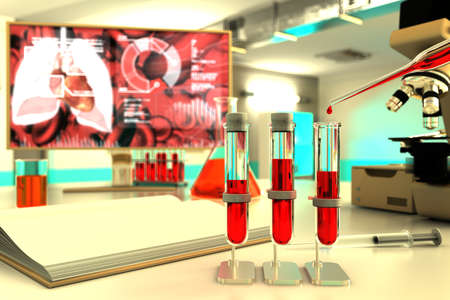Medical 3D illustration, laboratory test-tubes vials in university facility - blood test for virus (like covid-19) concept