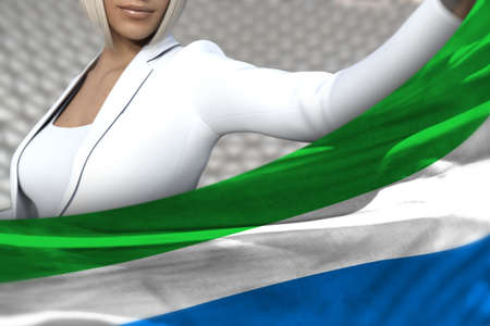 pretty business woman is holding Sierra Leone flag in front of her on the modern architecture background - flag concept 3d illustration 写真素材