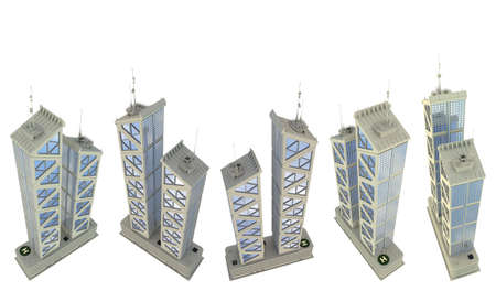 5 high view renders of fictional design commercial houses with two towers with sky reflections - isolated on white, 3d illustration of skyscrapers