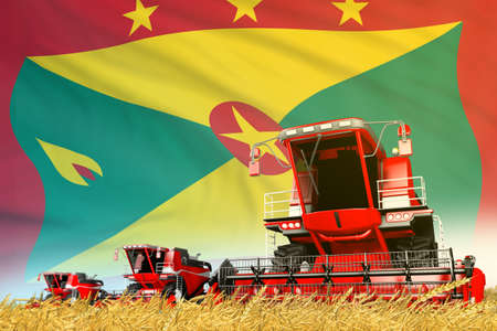 red rural agricultural combine harvester on field with Grenada flag background, food industry concept - industrial 3D illustration