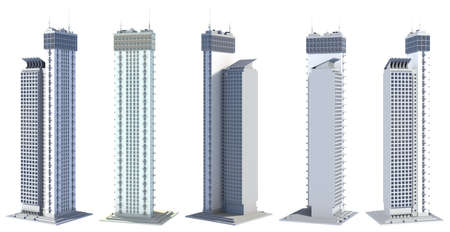 5 various sides view renders of fictional design abstract skyscrapers living towers with sky reflections - isolated on white, 3d illustration of skyscrapers