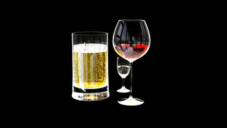 cg 3d illustration of industry, wine and drinks renders isolated on black