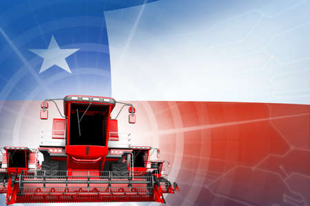 Digital industrial 3D illustration of 3 red modern rural combine harvesters on Chile flag, farming equipment modernization concept 写真素材