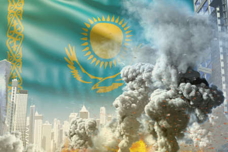 huge smoke pillar with fire in abstract city - concept of industrial disaster or terrorist act on Kazakhstan flag background, industrial 3D illustration 写真素材
