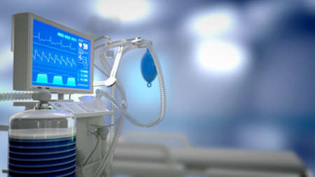 ICU medical ventilator in clinic, cg medical 3d illustration 写真素材
