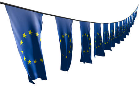 pretty labor day flag 3d illustration - many European Union flags or banners hanging diagonal with perspective view on rope isolated on white