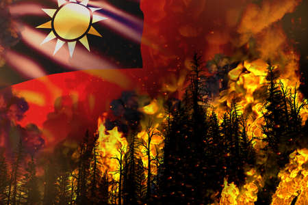 Forest fire natural disaster concept - burning fire in the trees on Taiwan Province of China flag background - 3D illustration of nature 写真素材