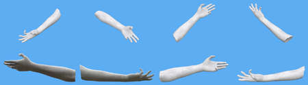 Set of white stone statue hand renders isolated on blue, lights and shadows distribution example for artists or painters - 3d illustration of objects