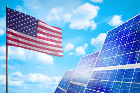 USA alternative energy, solar energy concept with flag - symbol of fight with global warming - industrial illustration, 3D illustration