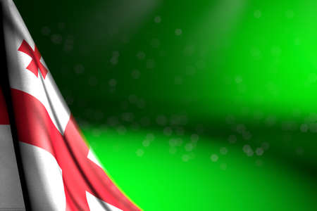 cute celebration flag 3d illustration - illustration of Georgia flag hangs diagonal on green with bokeh and free place for your text 写真素材
