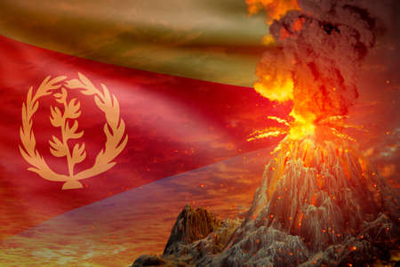 conical volcano blast eruption at night with explosion on Eritrea flag background, troubles because of natural disaster and volcanic ash concept - 3D illustration of nature