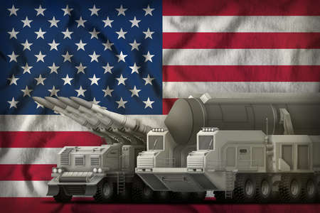 rocket forces on the USA flag background. USA rocket forces concept. 3d Illustration