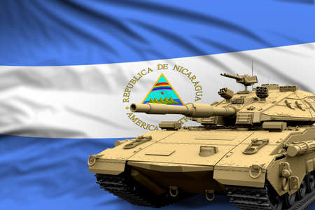 Nicaragua modern tank with not real design on the flag background - tank army forces concept, military 3D Illustration