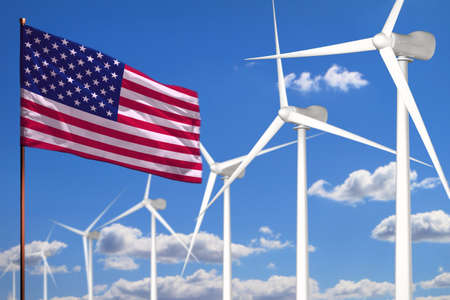 USA alternative energy, wind energy industrial concept with windmills and flag - alternative renewable energy industrial illustration, 3D illustration