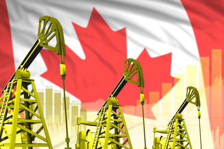 Canada oil and petrol industry concept, industrial illustration on Canada flag background. 3D Illustration