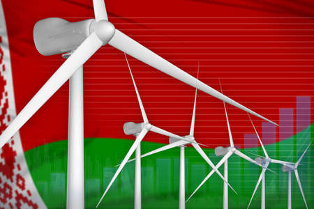 Belarus wind energy power digital graph concept - alternative energy industrial illustration. 3D Illustration 写真素材