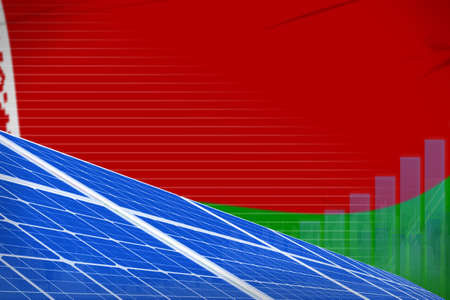 Belarus solar energy power digital graph concept - renewable energy industrial illustration. 3D Illustration