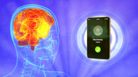 rontgen human head image with calling mobile phone, brain danger by lte communication concept - medical 3D illustration 写真素材