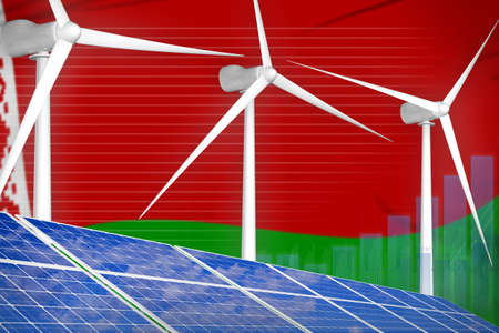 Belarus solar and wind energy digital graph concept - alternative energy industrial illustration. 3D Illustration