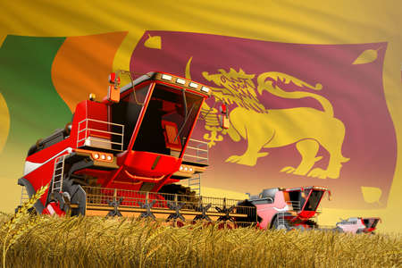 agricultural combine harvester working on farm field with Sri Lanka flag background, food production concept - industrial 3D illustration 写真素材