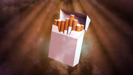 cg industrial 3D rendering, cigarettes pack renders on smoke backdrop 写真素材