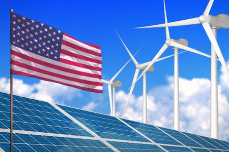 USA solar and wind energy, renewable energy concept with windmills - renewable energy against global warming - industrial illustration, 3D illustration
