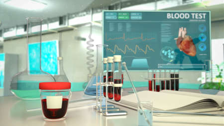 laboratory blood sample test background, cg medical 3D illustration