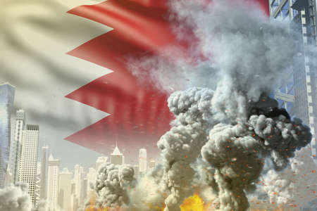 huge smoke column with fire in abstract city - concept of industrial accident or act of terror on Bahrain flag background, industrial 3D illustration