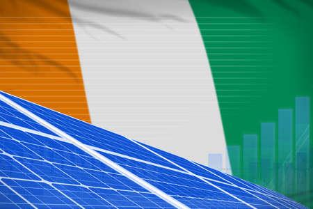 Cote d Ivoire solar energy power digital graph concept - green energy industrial illustration. 3D Illustration