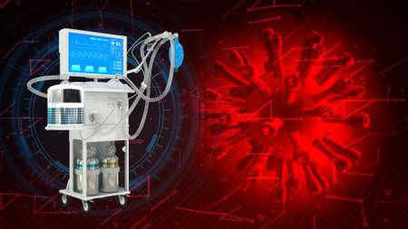 ICU medical ventilator with coronavirus, cg medicine 3d illustration