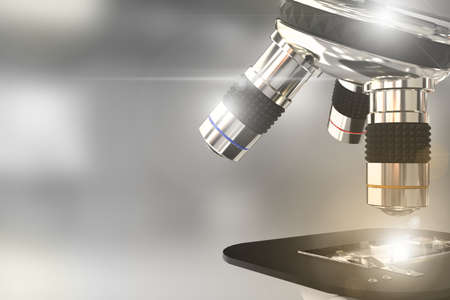virus discovery concept, object 3D illustration - lab modern scientific microscope with flare on selective focus background
