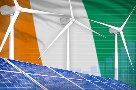 Cote d Ivoire solar and wind energy digital graph concept - green energy industrial illustration. 3D Illustration