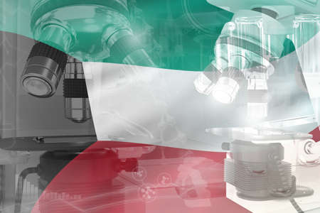 Microscope on Kuwait flag - science development conceptual background. Research in cell life or chemistry, 3D illustration of object