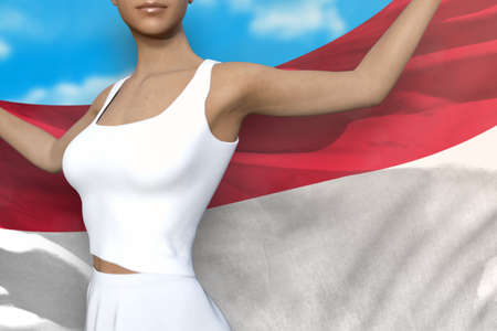 beautiful girl is holding Indonesia flag in her hands behind her on the cloudy sky background - flag concept 3d illustration Banque d'images