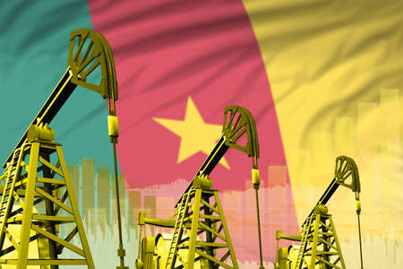 Cameroon oil and petrol industry concept, industrial illustration on Cameroon flag background. 3D Illustration