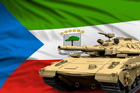 Equatorial Guinea modern tank with not real design on the flag background - tank army forces concept, military 3D Illustration