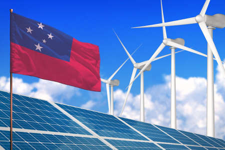 Samoa solar and wind energy, renewable energy concept with windmills - renewable energy against global warming - industrial illustration, 3D illustration