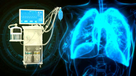 lungs and ICU covid ventilator, cg medical 3d illustration